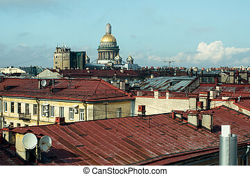 Roofs of houses in the old center of St. Petersburg, Russia.