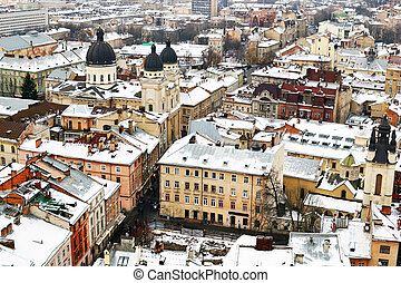 Roofs of Lvov from the tower, Ukraine.