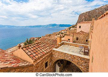 roofs of Monemvasia - tile roofs of medieval city Monemvasia...