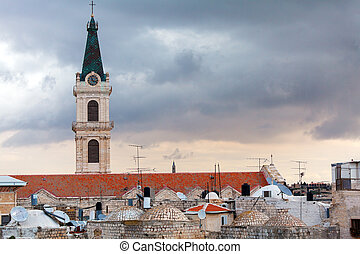 Roofs of Old City and Catholic Cathedral, Jerusalem