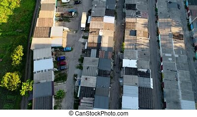 Roofs of old garages from above, aerial shoot