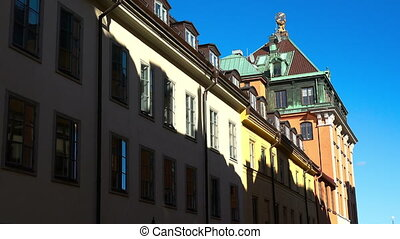 Roofs of old houses in the center of Stockholm. Old city. Sweden.