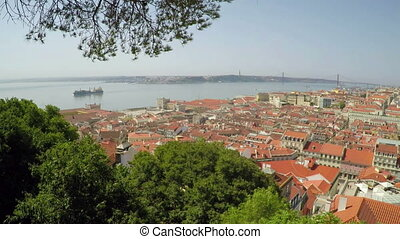 roofs of old houses of city of Lisbon with a view of the River Tejo.