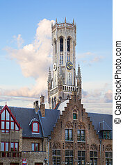 roofs of old houses with Belfort tower, Bruges