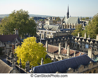 A view of the colleges of Oxford University from the belltower of the Church of St. Mary The Virgin in Oxford, England.