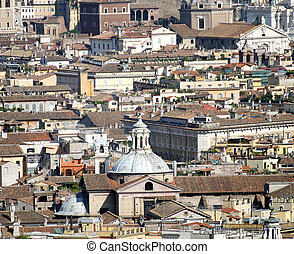 roofs of palaces, churches and houses in the center of Rome