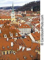 Roofs of Prague city Czech republic