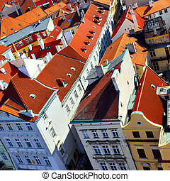 Roofs of Prague - Old tiled roofs of Prague, Czech republic