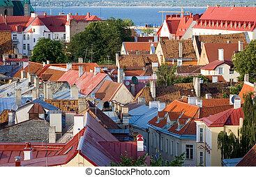 roofs of tallinn - old tiled roofs in tallinn, estonia