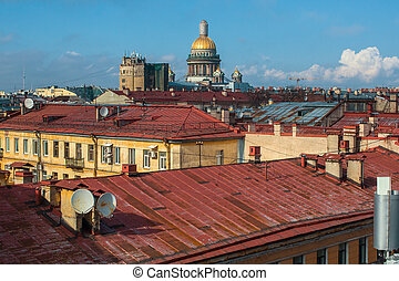 Roofs of the old center of St. Petersburg, Russia.