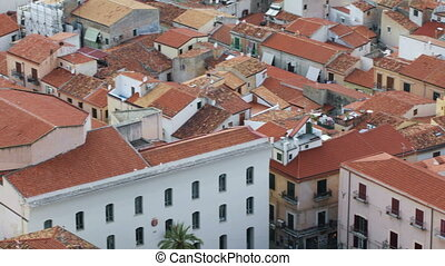 Roofs of the old town of Cefalu, Italy - Panoramic view of...