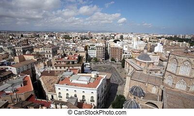 Roofs of Valencia in sunny day, Spain