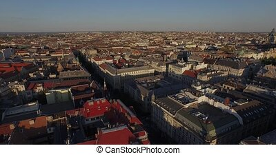 Roofs of wonderful Budapest city - Aerial footages of...