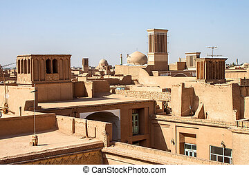 Roofs of Yazd, Iran.