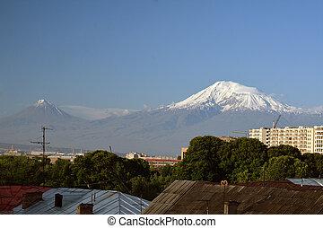Roofs of Yerevan city with Ararat