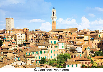 Roofs on traditional Italian buildings. Siena Italy.