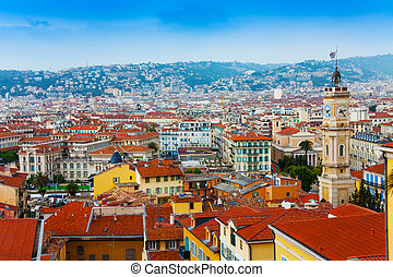 Roofs panorama of Nice, France