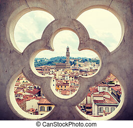 fence ornament bell tower in Florence - roofs, red tiles and...