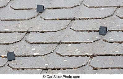 rooftiles, 屋根, 古い, 奇妙である