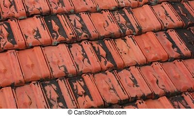 Rooftop Baked Clay Tiles Old And Weathered Stock Footage -...