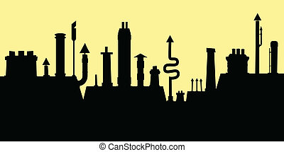 Cartoon silhouette of a cluster of rooftop chimneys.