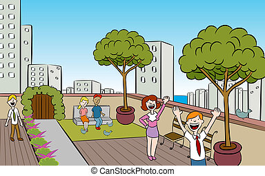 People in a garden on the roof of a building in a downtown urban setting.