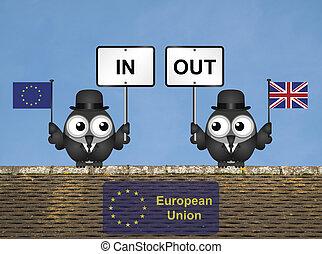 Rooftop European Union Referendum - Comical bird campaigners...
