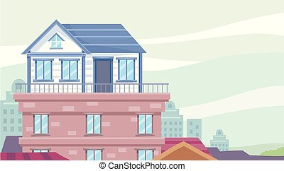Rooftop House Illustration