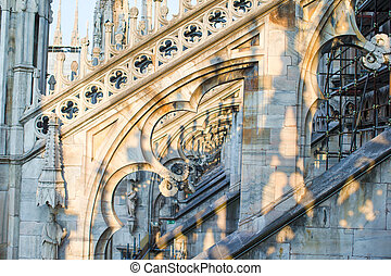 Rooftop of Duomo cathedral, Milan, Italy