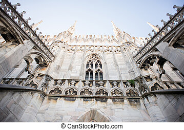 Rooftop of Duomo cathedral, Milan.