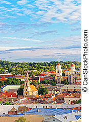 Rooftop of old town and towers of churches in Vilnius