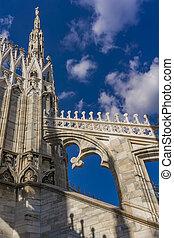 Rooftop terraces of Milan Duomo in Italy