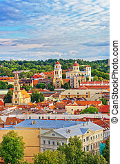 Rooftop to old town and towers of churches in Vilnius