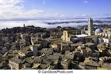 Rooftop view of the medieval city of Siena, Italy