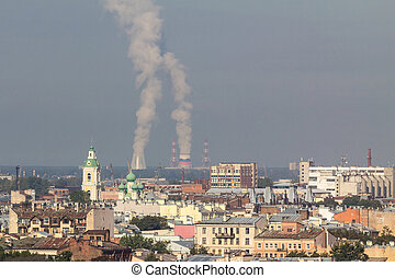 Rooftop view over St. Petersburg with nuclear power plant in the back