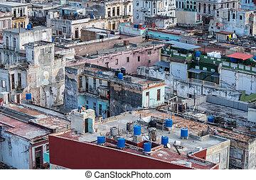 Rooftop view over the city of Havana, Cuba