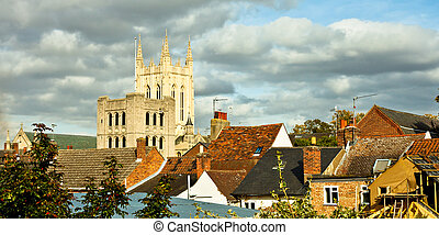 Rooftops and cathedral tower on an autumn day in Bury St Edmunds, UK