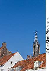 Rooftops and church tower in Amersfoort, Holland