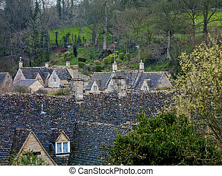 Rooftops in Cotswold England - A series of rooftops in...