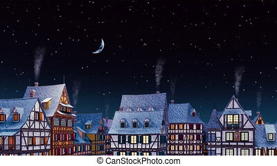 Rooftops of european town at snowfall winter night - ...