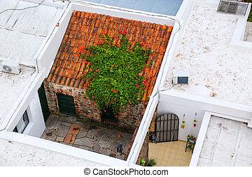 Rooftops of houses in historic quarter of Colonia del Sacramento, Uruguay.