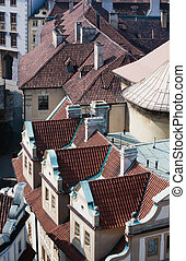 Overhead view looking down onto the tiled red rooftops of Prague, capital of Czechia, Europe