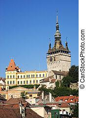 rooftops of sighisoara in transylvania romania