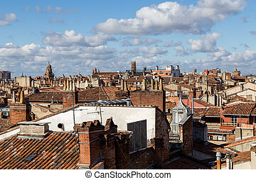 Toulouse, France - February 19, 2016: Rooftop view of the French city Toulouse.