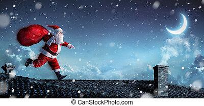rooftops, rennende , santa claus