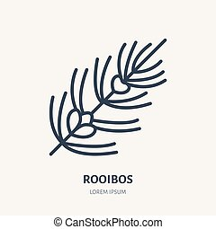 Rooibos flat line icon. Medicinal plant leaves vector ...