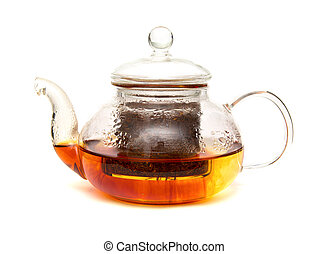Rooibos tea being brewed in a small glass teapot, isolated...