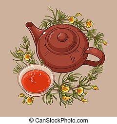 rooibos tea illustration - rooibos tea in teapot and tea ...