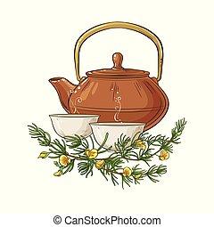 rooibos tea illustration - rooibos tea in teapot ...