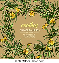 rooibos vector frame - rooibos branches vector frame on ...